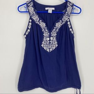 Charlotte Russe Blue & White Trimmed Tank Top S